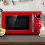 JYDQB Style rétro Countertop Micro-Ondes -Memory Turntable, Micro-Ondes avec Countertop Sound on/Off (Color : Red)