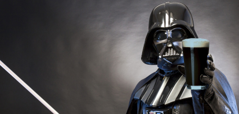 Darth Vader holding a lager. Photo courtesy of Imbibe.com