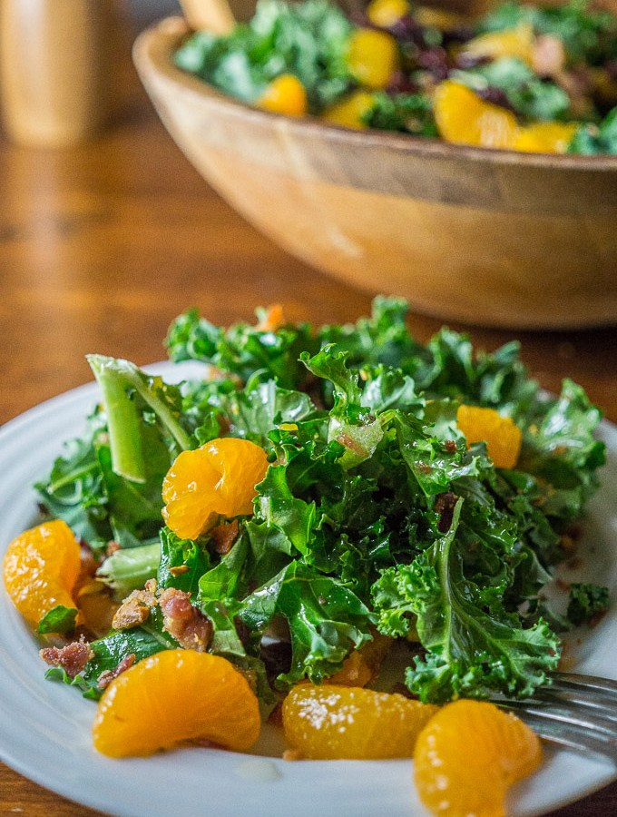 Tangerine Kale Salad with Cranberry Dressing