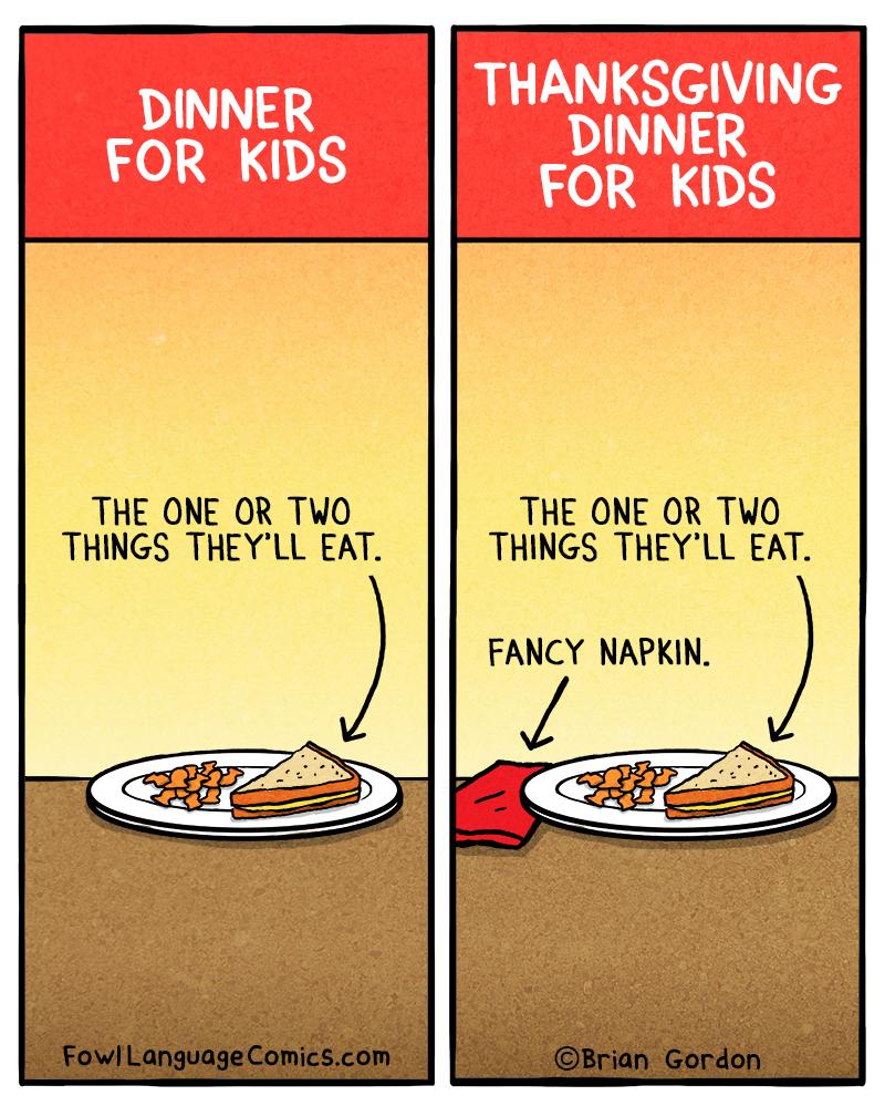 Thanksgiving Dinner For Kids - Fowl Language Comics