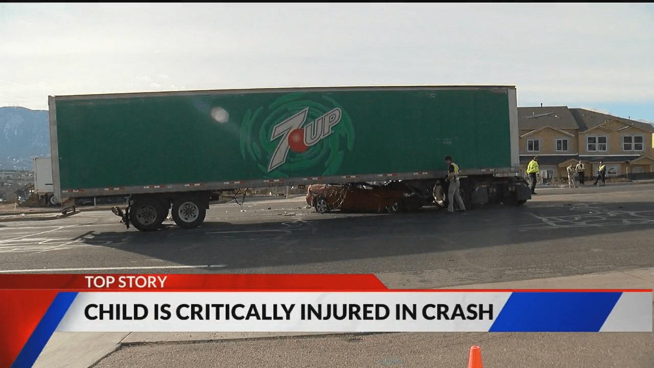 Two children were seriously injured in a crash involving a semi and a sedan in southern Colorado Springs Saturday morning. Ray Harless - FOX21 News
