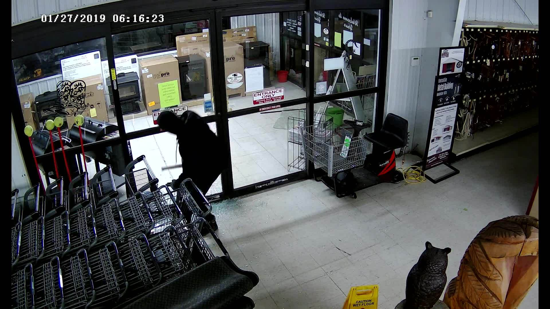 Surveillance image shows the person accused of breaking into a Falcon Big R and stealing 13 guns Sunday morning. El Paso County Sheriff's Office