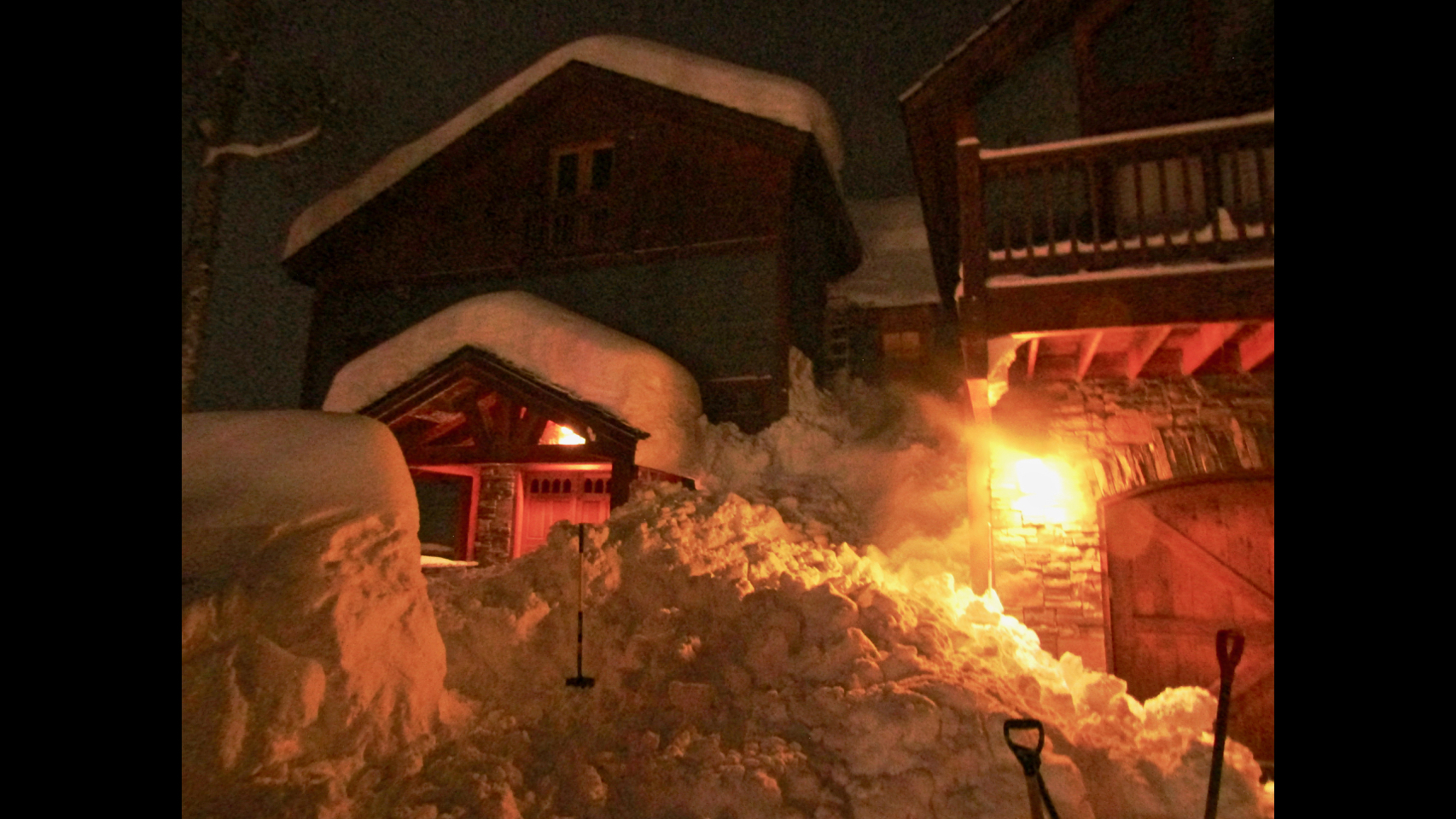 This roof avalanche caught and buried a person on March 8, 2019, in Mount Crested Butte. The avalanche came off the roof in the upper right, and the p