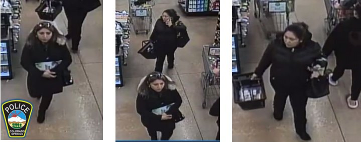Surveillance images show the two women accused of breaking into cars at two Colorado Springs parks on January 1. Colorado Springs Police Department