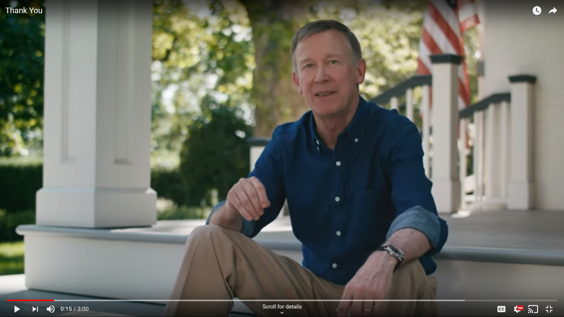 In a video message Thursday, Gov. John Hickenlooper announced he is ending his presidential campaign. / Still from video courtesy YouTube