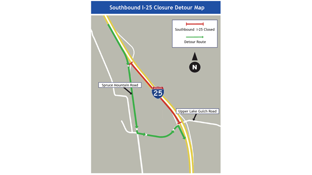 Map provided by CDOT shows the portion of southbound Interstate 25 that will be closed for several nights next week.