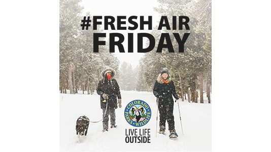 Fresh Air Friday - Snowshoe in Snow - Square - Hashtag and Live Life Outside