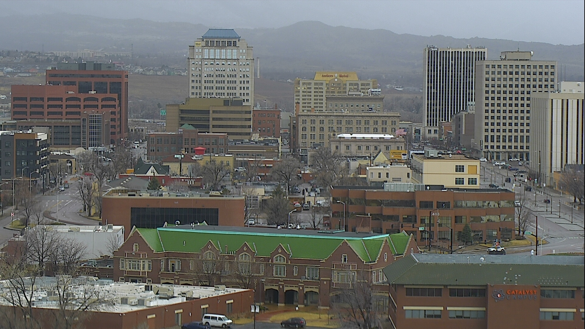 The Colorado Springs skyline around 2:30 p.m. Thursday.