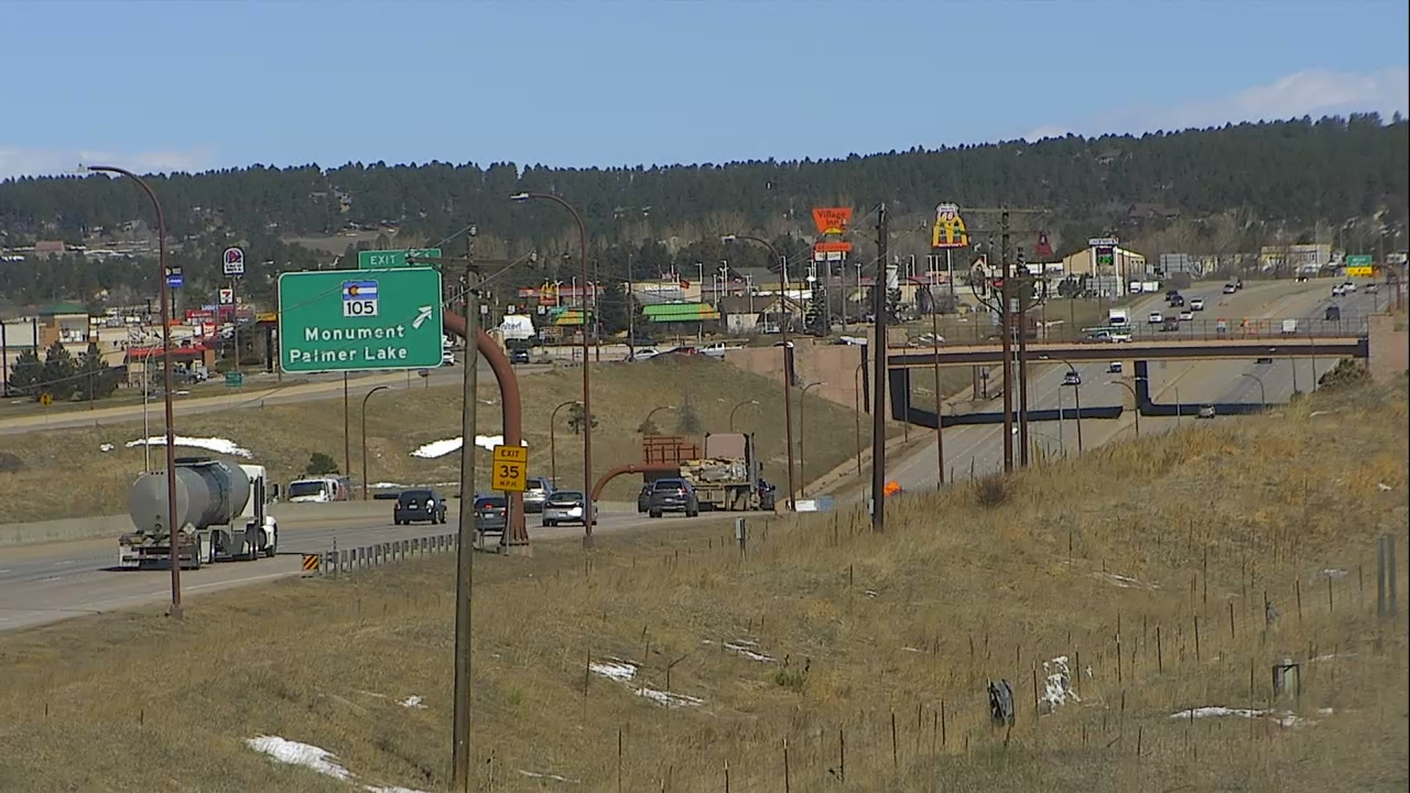 Interstate 25 at the Monument exit around 11 a.m. Tuesday.