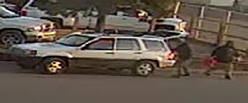 Surveillance image shows the suspect and vehicle in a car break-in and theft in eastern Colorado Springs March 8. / Courtesy El Paso County Sheriff's Office