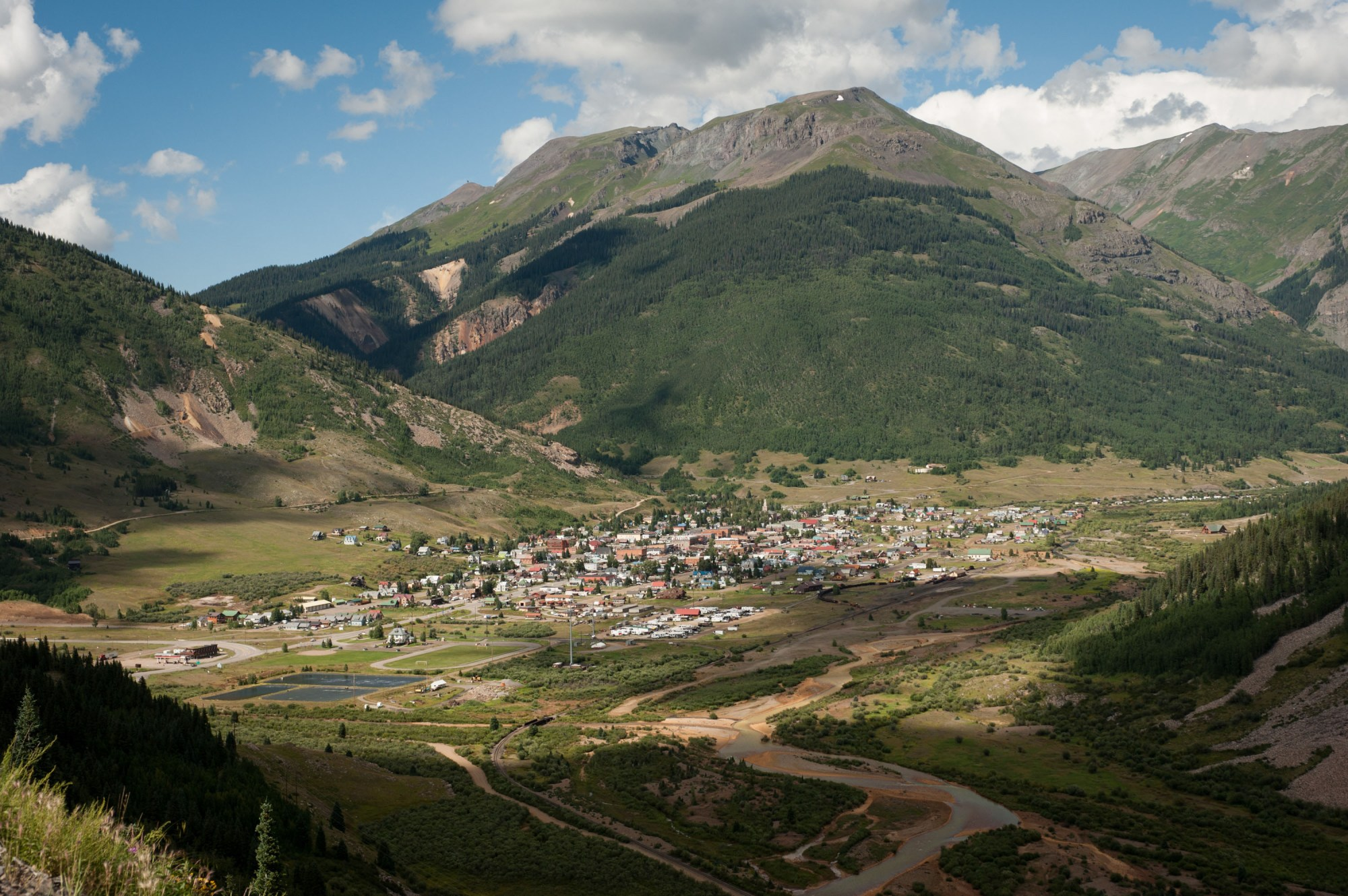 The town of Silverton is pictured on August 11, 2015 in Colorado. (Photo by Theo Stroomer/Getty Images)