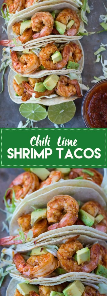 These chili lime shrimp tacos are super flavorful and take less than 30 minutes to make. Gluten free and Dairy free.