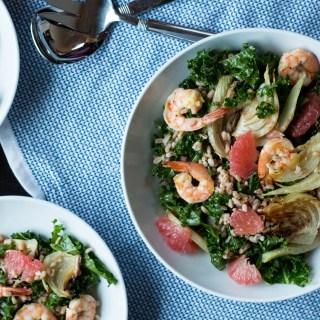 Roasted Shrimp, Fennel and Grapefruit Kale Salad