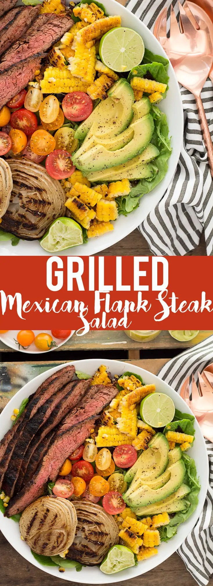 This Mexican Grilled Flank Steak Salad with Honey Lime Dressing has a smoky spiced grilled flank steak, charred corn, grilled onions, creamy avocado and a zingy honey lime dressing. Quick to make inside on the stove or outside on the grill!