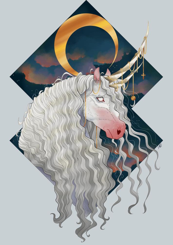 Unicorn, Art, Fantasy, Spooky, Gothic, Moon, Gold, Dream