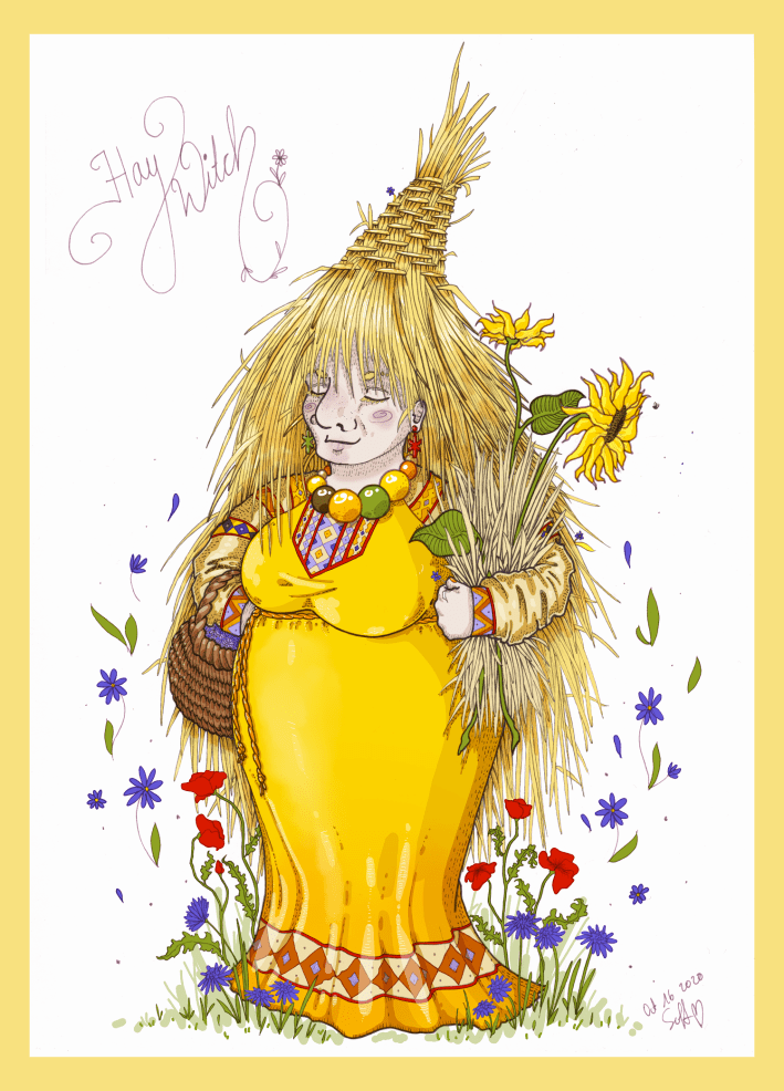 Hay Witch Magic Colourised Sketch Summer Cottagecore