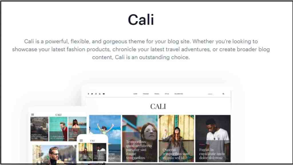 Cali -Completely free WordPress themes for blogging sites