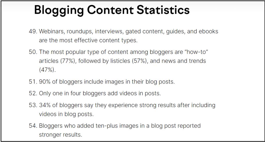 Blogging Content Statistics