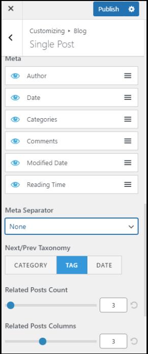 Design post on WordPress customizer and settings