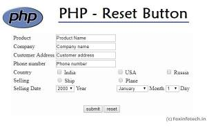 PHP Reset button example.