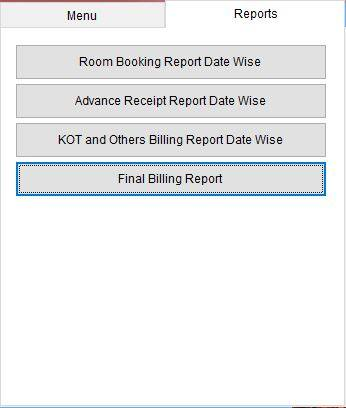 Hotel software report options.