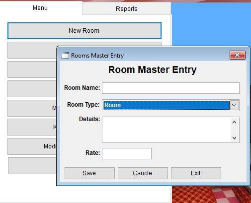 New room master entry option in hotel software.