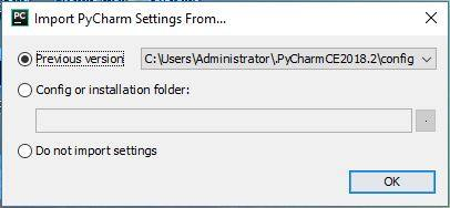 PyCharm import settings screen.