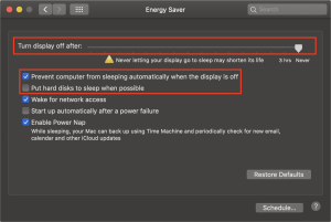 Energy Saver configuration in macOS Mojave.