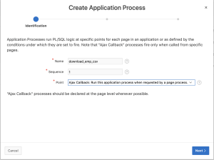 Create application process in Oracle Apex