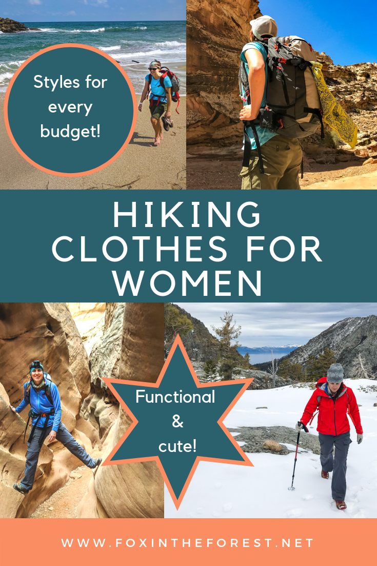 The best hiking clothes for women. Functional and stylish hiking clothes for women. Great budget hiking clothes. How to find a good deal on hiking clothes and outdoor clothing. Guide to outdoor hiking clothes for women. Functional hiking clothing for women. #hikingclothes #hikinggrear #outdoorwomen #hiking #outdoors