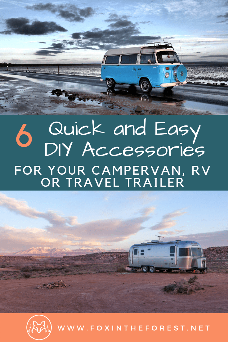 Simple DIY camper van, RV and travel trailer accessories. Create your own #vanlife accessories. Easy ways to upgrade your RV, campervan or travel trailer. #RVtravel #camping #campervan