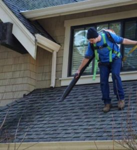 Gutter cleaning being performed in Dawsonville, GA