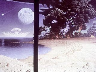 An artists impression of an early Earth beset with meteorite impacts and volcanic eruptions. (NASA)