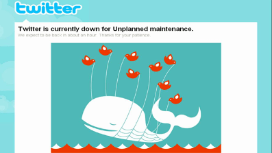 """A familiar site for many Twitter users: the site's so called """"Fail Whale,"""" posted when there is a service disruption or the site is over capacity."""