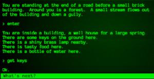 Jogo textual descreve ambiente e responde às ações do jogador.