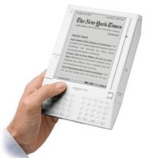 O primeiro modelo do Kindle, lançado em 2007.