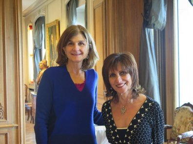 Margy Kinmonth and Evelyn Cantacazune-Speransky at Chateau des Penthes Geneva for Hermitage Revealed screening