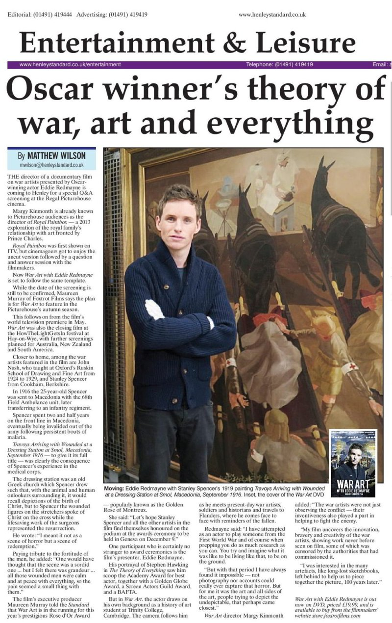 Henley Standard - WAR ART with Eddie Redmayne