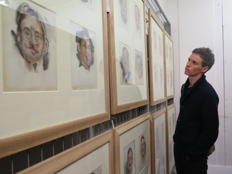 Eddie Redmayne with Henry Tonks Portraits. Photograph © www.foxtrotfilms.com
