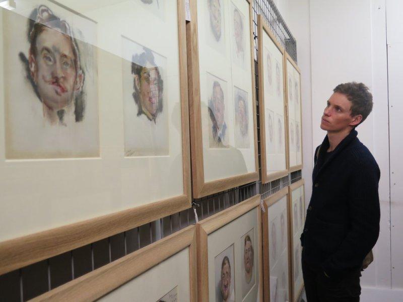 Eddie Redmayne with Henry Tonks Portraits. Photograph © www.foxtrotfilms.com