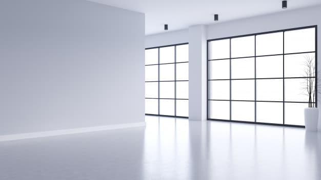 modern empty living room interior white wall concrete floor with black frame window 33739 3841 - Building and Commercial Window Cleaning - Junk Removal