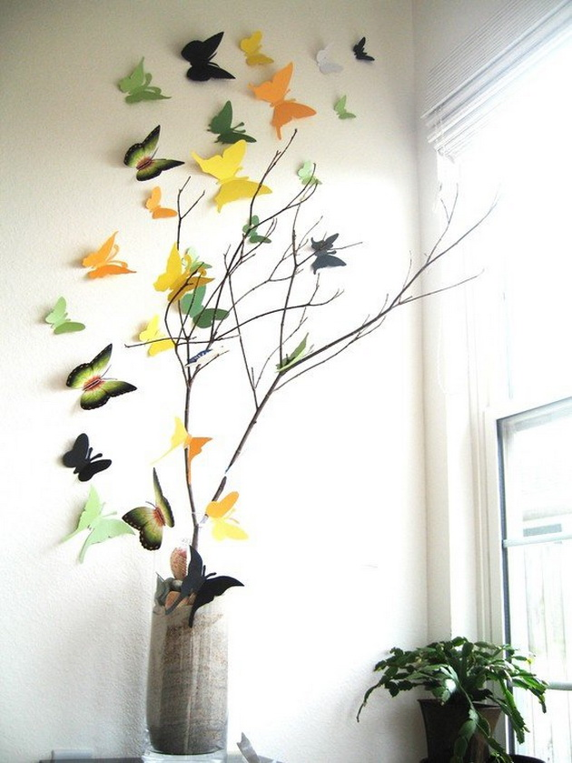 3D Wall Decoration With Butterflies