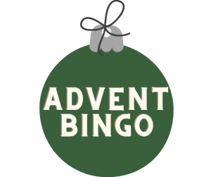 """Image of ornament with the words """"Advent Bingo"""""""