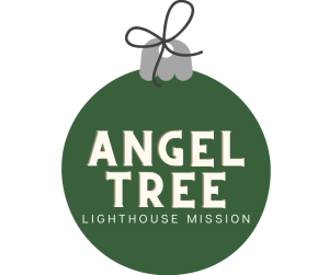 """Image of ornament with the words """"Angel Tree - Lighthouse Mission"""""""