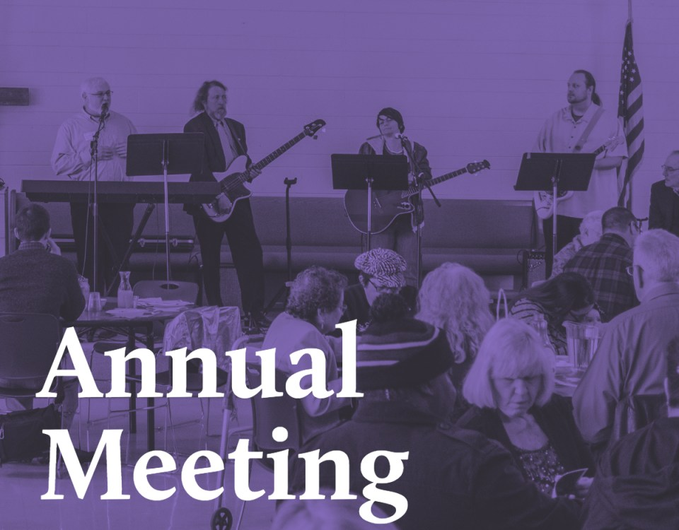 Image of Annual Meeting with 'Annual Meeting' in text