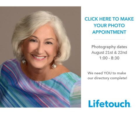 """Portrait of an older woman. Text reads """" Click here to make your photo appointment. Photography dates August 21 & 22nd, 1:00-8:30pm. We need YOU to make our directory complete! Lifetouch."""""""