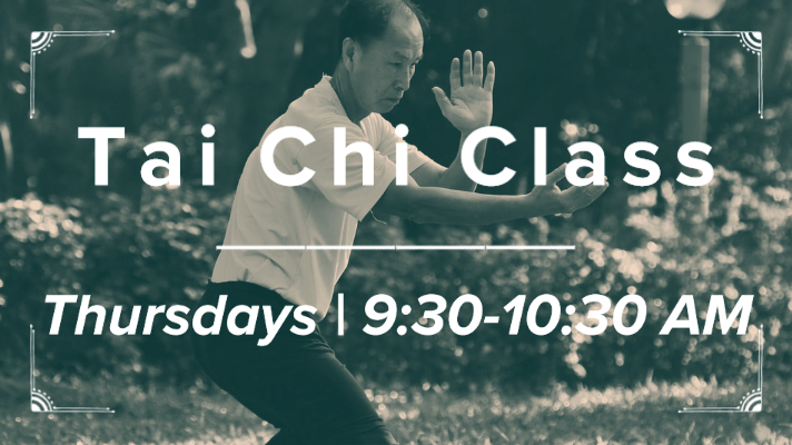 "black and white photo of a man doing tai chi in a park with the text ""Tai Chi Class 
