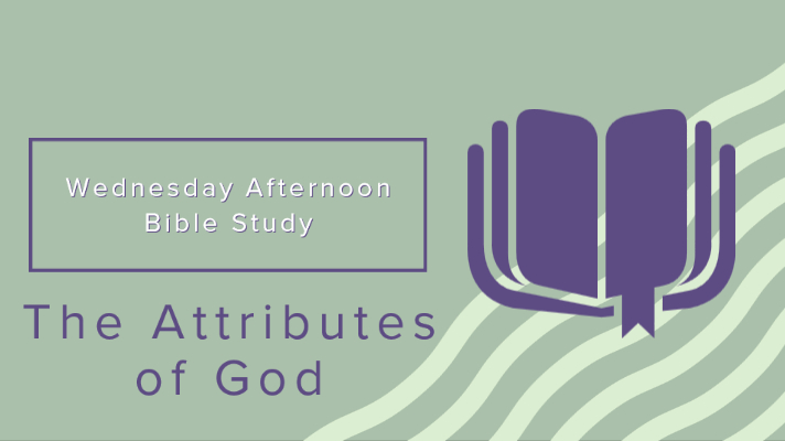 """Clipart of an open book with a dangling bookmark on a background of waves with the text """"Wednesday Afternoon Bible Study: Attributes of God"""""""