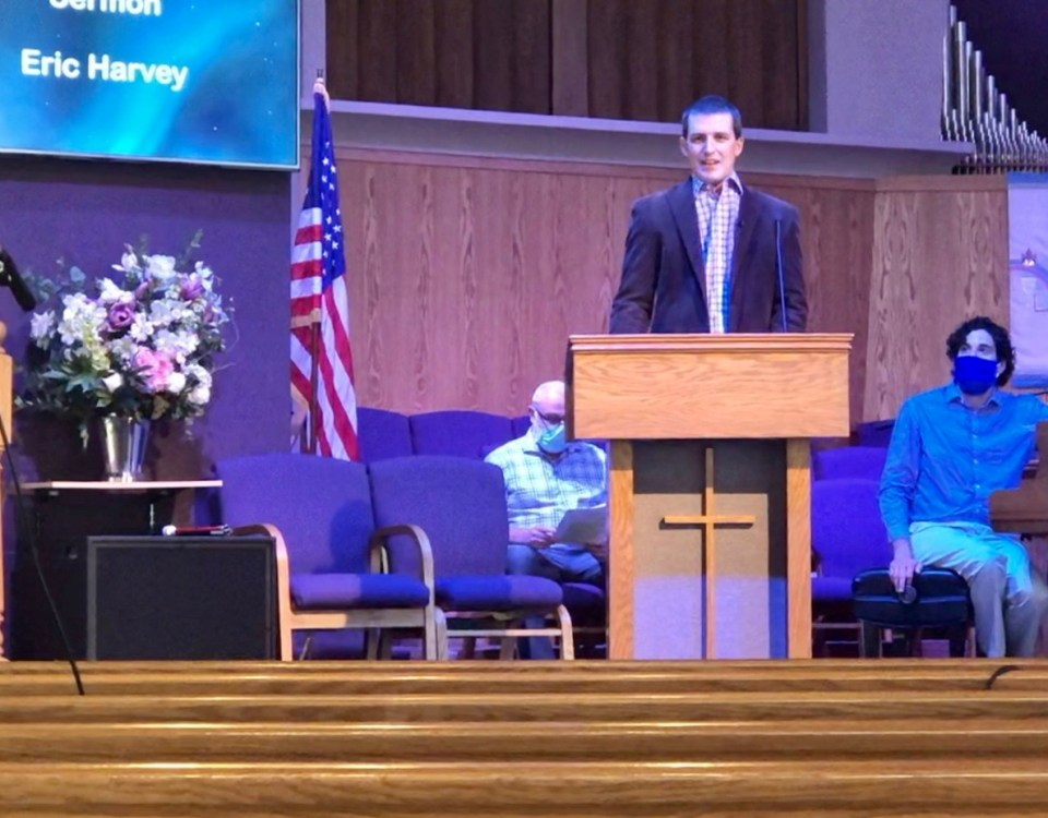 Eric Harvey in the pulpit at FPCC