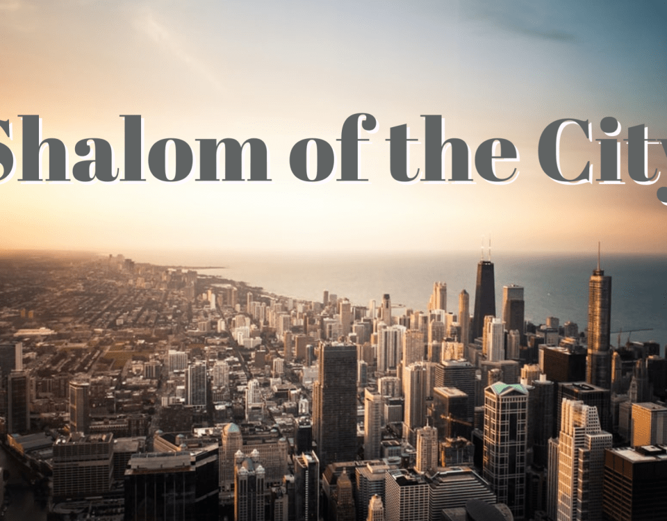 "a city skyline at dawn with the text ""Shalom of the City"""